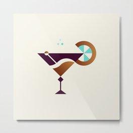 Cocktail // Geometric Minimalist Illustration Metal Print