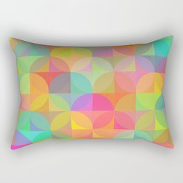 Vibrant Plaid and Circle Pattern Rectangular Pillow