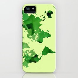 Green world map iPhone Case