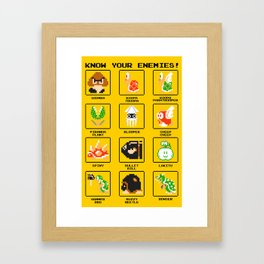Know Your Enemies - Super Mario Bros Framed Art Print