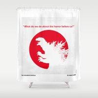 akira Shower Curtains featuring No029-2 My Godzilla 1954 minimal movie poster by Chungkong