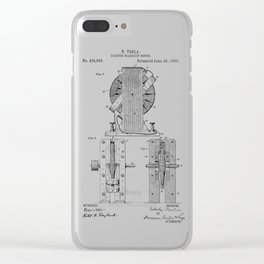 Nikola Tesla Electro Magnetic Motor Patent Art Clear iPhone Case