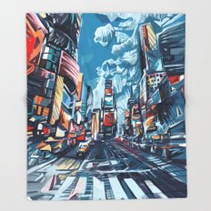 new york city-times square urban art Throw Blanket