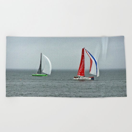 part 4 of 4 of Sailing Battle 42-56  - Transat Quebec St-Malo Beach Towel