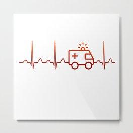EMT Heartbeat Metal Print