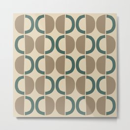 Mid Century Modern Half Circle Pattern 540 Beige and Green Metal Print