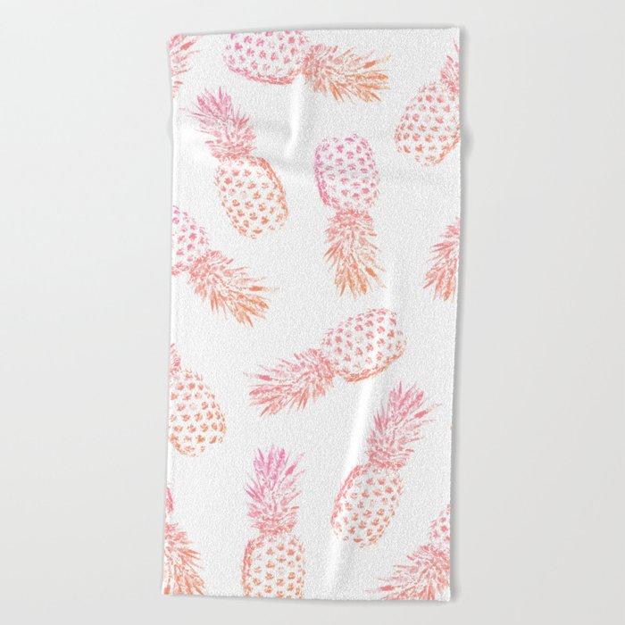 Pink Pineapples Beach Towel