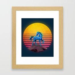 Synthwave neon retro majestic horse Framed Art Print