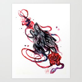 Howling Wolf and Rose Art Print