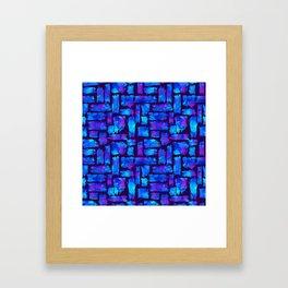 Blue watercolor brush Framed Art Print