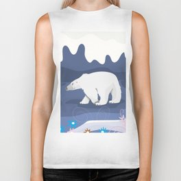 Vintage Polar Bear Illustration in the style of Mary Blair. Biker Tank