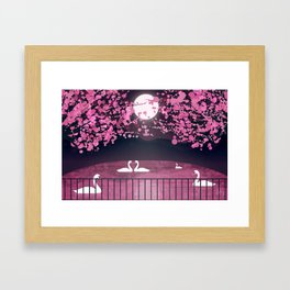 Swans and Cherry Blossoms Framed Art Print