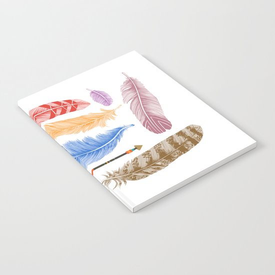 Feathers on White Notebook