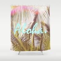 aloha Shower Curtains featuring ALOHA by The Pixel Gypsy