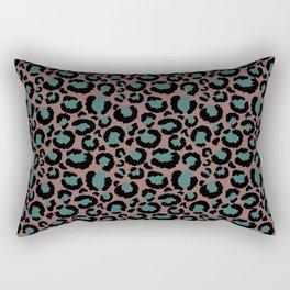 Brown & Teal Leopard Print Rectangular Pillow