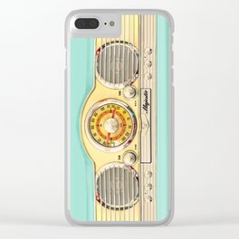 Retro old classic vintage blue teal Majestic radio iphone case Clear iPhone Case