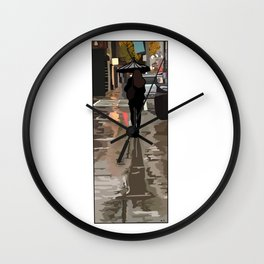 Lady on Queen Street in the rain. Wall Clock