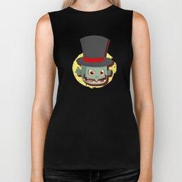 Scary Zombie Face Top Hat Halloween Biker Tank