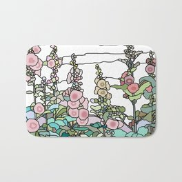 flowers and leaves on white background Bath Mat