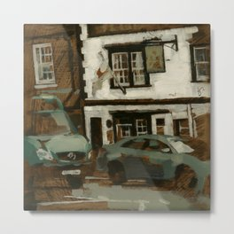 Cityscape Oil painting Urban Landscape of English Pub Buildings & Street Cars Metal Print