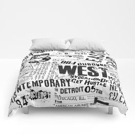 East West Grunge Distressed black white #urban typography Comforters