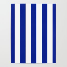 Indigo dye blue - solid color - white vertical lines pattern Poster