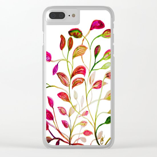 Red and Green Leaves! Happy Holidays! Clear iPhone Case