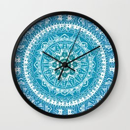 Aquamarine Mandala Pattern Wall Clock