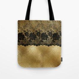 Black luxury lace on gold glitter effect metal- Elegant design Tote Bag