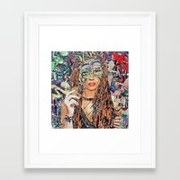 cookie Framed Art Prints featuring Cookie by Katy Hirschfeld