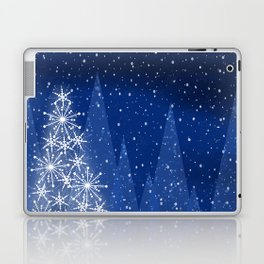 Snowy Night Christmas Tree Holiday Design Laptop & iPad Skin