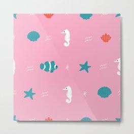 Pink Beach Pattern Metal Print