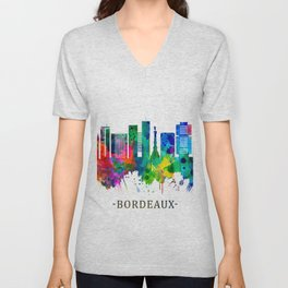 Bordeaux France Skyline Unisex V-Neck