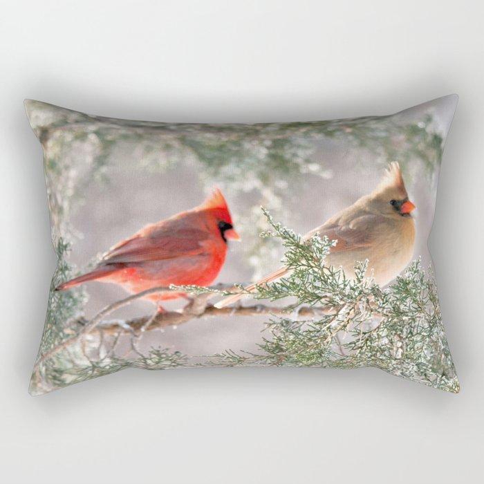 Hoarfrost Cardinals Rectangular Pillow