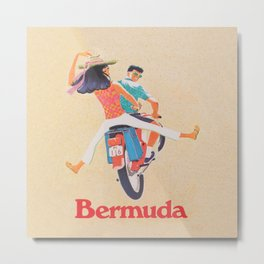 Bermuda on a Scooter Vintage Travel Metal Print