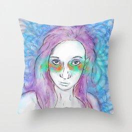 Doodle Portrait 2 Throw Pillow