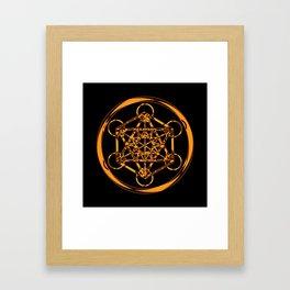Metatron Cube Gold Framed Art Print