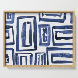 Inky Squares | Classic Blue Serving Tray