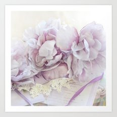 Dreamy Ethereal Lavender White Roses Print and Home Decor Art Print