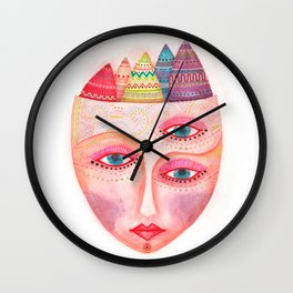 girl with the most beautiful eyes mask portrait Wall Clock