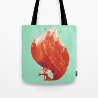 kitsune Tote Bags featuring Kitsune (Fox of fire) by Picomodi