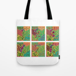 Tiles 1-9 Wide White Tote Bag