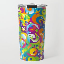 Dolphins, Seals and Sea Life in Tropical Ocean Waves Travel Mug