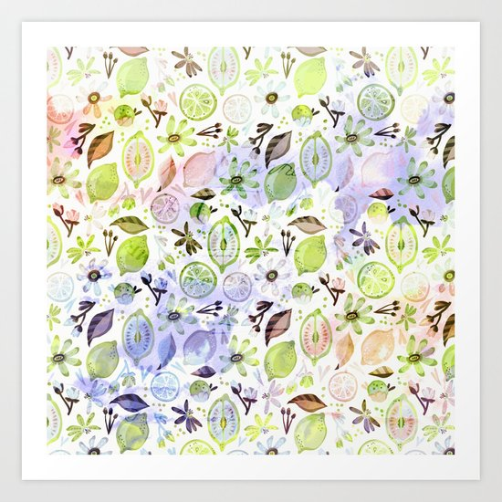 Lemons and flowers- floral Summer pattern on #Society6 Art Print