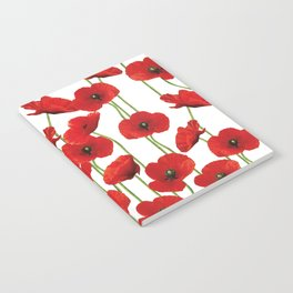 Poppies Flowers red field white background pattern Notebook