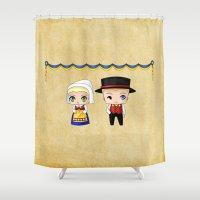 swedish Shower Curtains featuring Swedish Chibis by artwaste