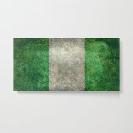 National flag of Nigeria, Vintage textured version Metal Print