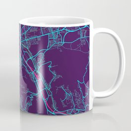 Stuttgart Neon City Map, Stuttgart Minimalist City Map Art Print Coffee Mug