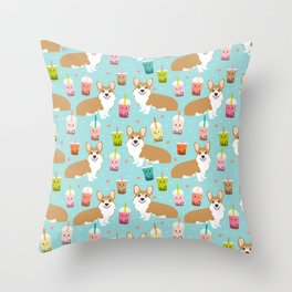 corgi boba tea bubble tea cute kawaii dog breed fabric welsh corgis dog gifts Throw Pillow