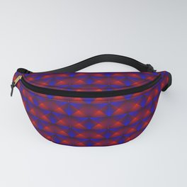 Chaotic pattern of purple squares and red pyramids. Fanny Pack